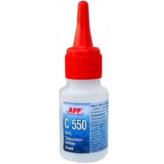 APP Клей циано-акриловый APP C 550 (для резины и пластмассы) 20мл
