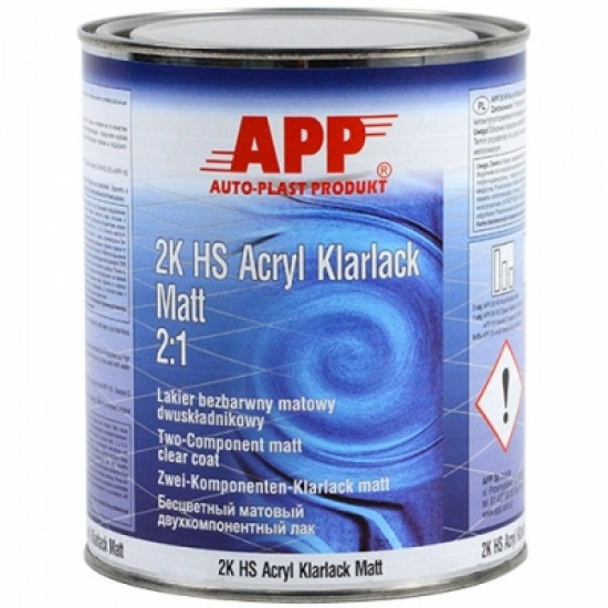 APP Двухкомпонентный матовый бесцветный лак APP 2K HS Acryl Klarlack Matt 2:1 1л + Отвердитель к лаку Spezial S APP HS Spezial S Harter XLHN-нормальный 0,5л