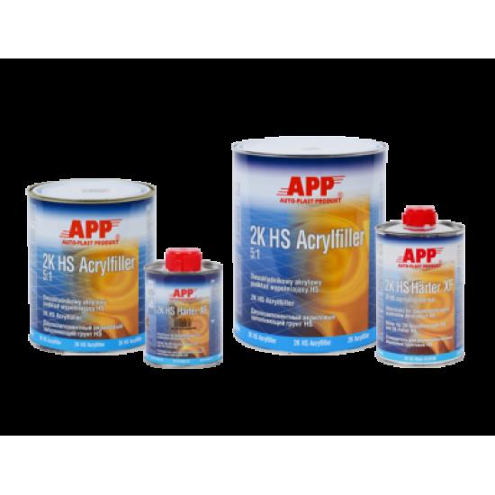 APP 2К Грунт акриловый HS Acryfiller 5:1 чёрный 1л + отвердитель Harter FHN - нормальный 0,2л 020409, 020506