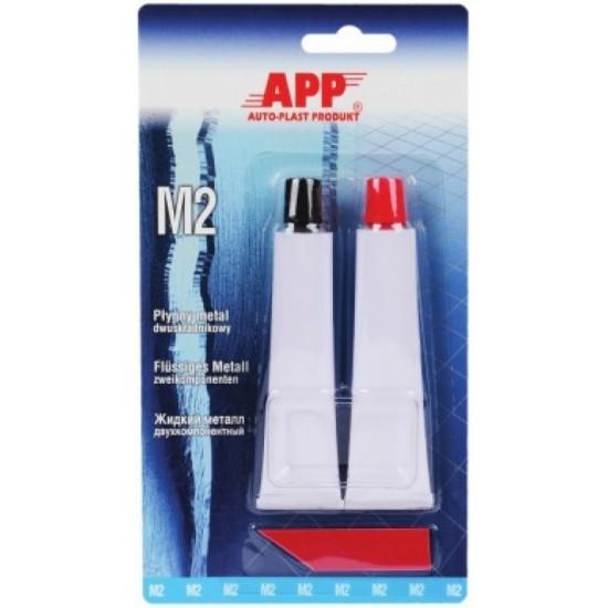 APP Клей-наполнитель эпоксидный двухкомпонентный (жидкий металл М2) (2 х 20гр) 40гр